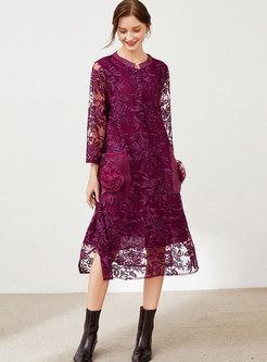 Plus Size Long Sleeve Openwork Lace Midi Dress