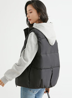Mock Neck Lightweight Down Vest With Pockets
