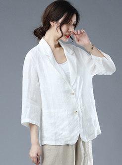 Plus Size Button-down Short Linen Blazer