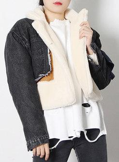 Lambswool Patchwork Loose Cropped Denim Coat