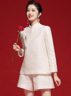 Mandarin Collar Beaded Jacquard Shorts Suit