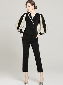 Work Lantern Sleeve Coat & High Waisted Cigarette Pants