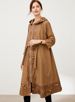 Plus Size Hooded Embroidered Loose Trench Coat