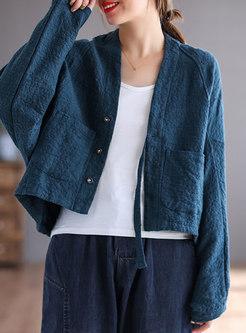 V-neck Jacquard Long Sleeve Cropped Coat