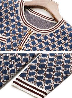 Crew Neck Long Sleeve Plaid Short Sweater Dress