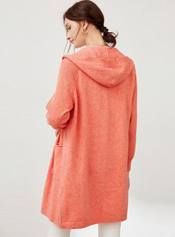 Hooded Loose Wool Blend Cardigan Coat