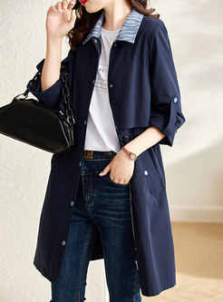 Roll Up Sleeve Drawstring Trench Coat