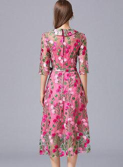 Half Sleeve Embroidered Lace Midi Cocktail Dress