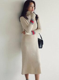 Turtleneck Long Sleeve Slim Midi Sweater Dress