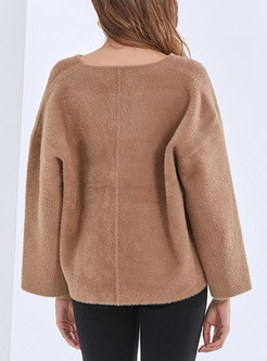 V-neck Long Sleeve Pullover Loose Sweater