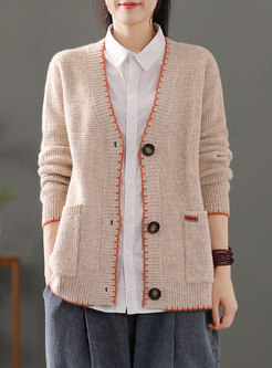 V-neck Long Sleeve Loose Button-down Cardigan