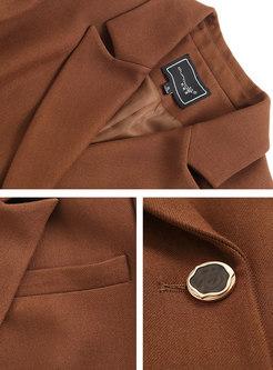 Flap Pockets Button-down Work Slim Blazer