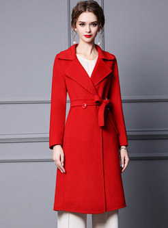 Notched Collar Double-breasted Wool Peacoat