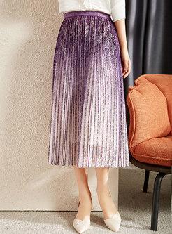High Waisted A Line Pleated Lace Maxi Skirt