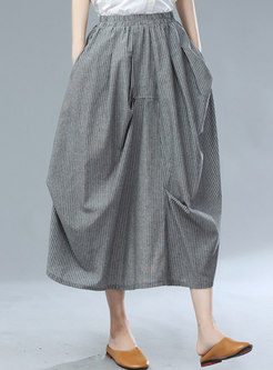 High Waisted Striped Asymmetric Long Skirt