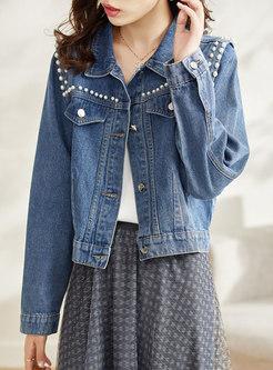 Turn-down Collar Pearl Short Denim Jacket