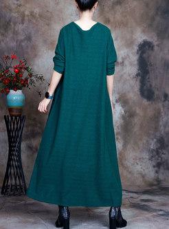 Plus Size Long Sleeve Printed Long Sweater Dress