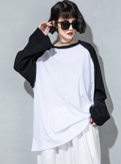 Plus Size Pullover Patchwork T-shirt
