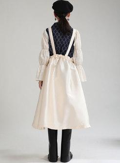 High Waisted Bowknot Midi Suspender Skirt
