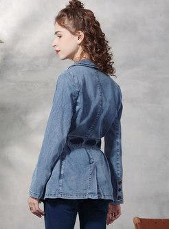 Single-breasted Flap Pockets Denim Belted Blazer