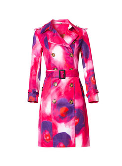 Tie-dye Double-breasted Slim Trench Coat