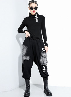 Casual High Waisted Letter Thicken Harem Pants