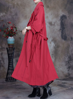 Plus Size Single-breasted Long Trench Coat