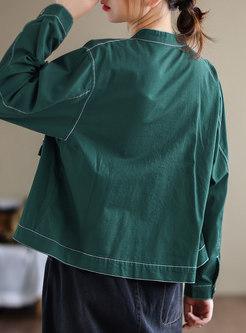 Mock Neck Flap Pockets Utility Jacket