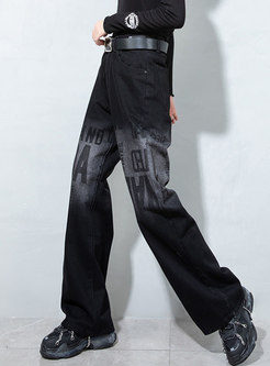 High Waisted Letter Washed Straight Jeans