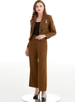 Long Sleeve Short Blazer & High Waisted Wide Leg Pants