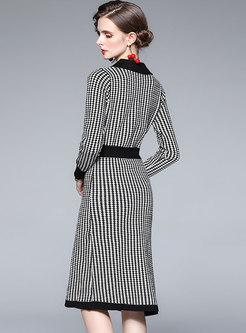 Plaid Long Sleeve Sheath Midi Sweater Dress