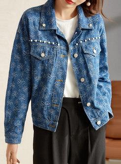 Beaded Print Single-breasted Denim Jacket