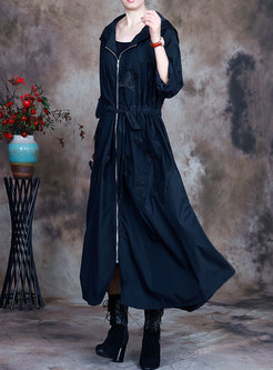 Plus Size Hooded Long Drawstring Trench Coat