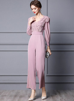 Long Sleeve Lace High Waisted Wide Leg Jumpsuits