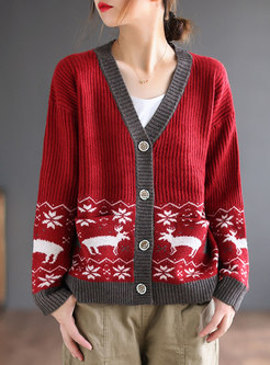 V-neck Single-breasted Print Sweater Cardigan