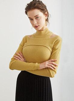 Turtleneck Long Sleeve Cold Shoulder Wool Sweater