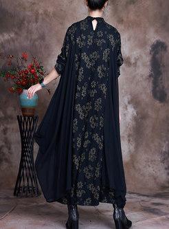 Mandarin Collar Print Straight Long Dress