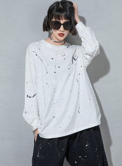 Casual Long Sleeve Tie-dye Pullover Sweatshirt
