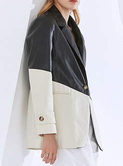 Color-blocked One Button Leather Loose Blazer