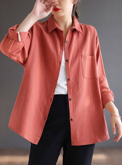 Brief Long Sleeve Single-breasted Loose Blouse