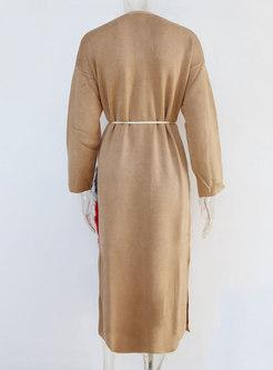 V-neck Fur Patchwork Long Cardigan Coat