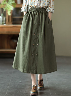 Plus Size High Waisted Maxi Skirt