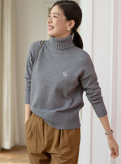 Turtleneck Ribbed Pullover Loose Sweater
