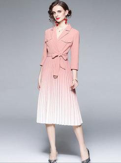 Work Belted Pleated Midi Blazer Dress