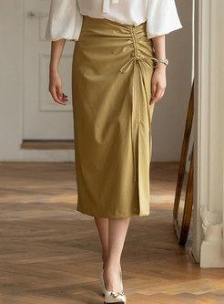 High Waisted Drawstring Split Maxi Skirt