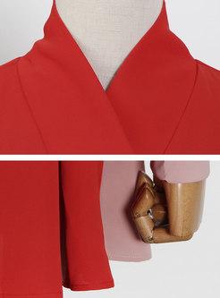 V-neck Lantern Sleeve Wrap A Line Coat