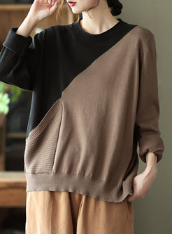 Casual Color-blocked Pullover Loose Sweater