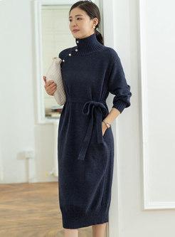 Turtleneck Long Sleeve Straight Midi Sweater Dress