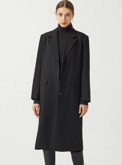 Single-breasted Flap Pockets Mid-length Coat