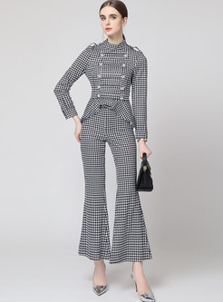 Houndstooth Ruffle High Waisted Flare Pant Suits